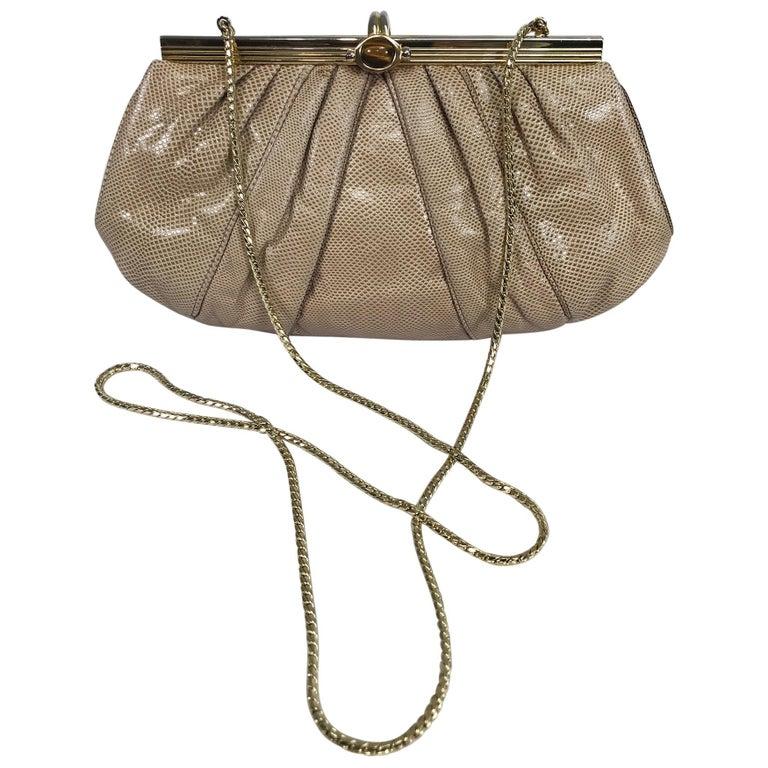 Judith Leiber Gold Frame Tiger Eye Lizard Clutch Shoulder Bag 1980s For Sale