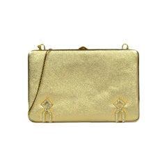 Judith Leiber Gold Leather Miniaudiere Bag with Chain Strap and Crystal Detail