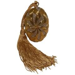 Judith Leiber Gold Oval Basket Weave Swarovski Crystal Minaudiere Evening Bag