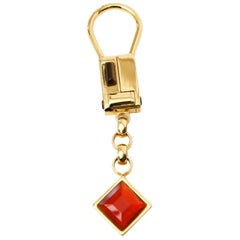 Judith Leiber Gold Plated Tiger's Eye and Carnelian Agate Key Chain