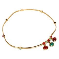 Judith Leiber Gold Snake Chain Jade & Carnelian Belt