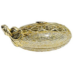 Judith Leiber Gold Tone and Crystal Eggplant Minaudiere