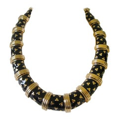 Judith Leiber Gold Tone & Black Enamel Necklace Never worn 1990s
