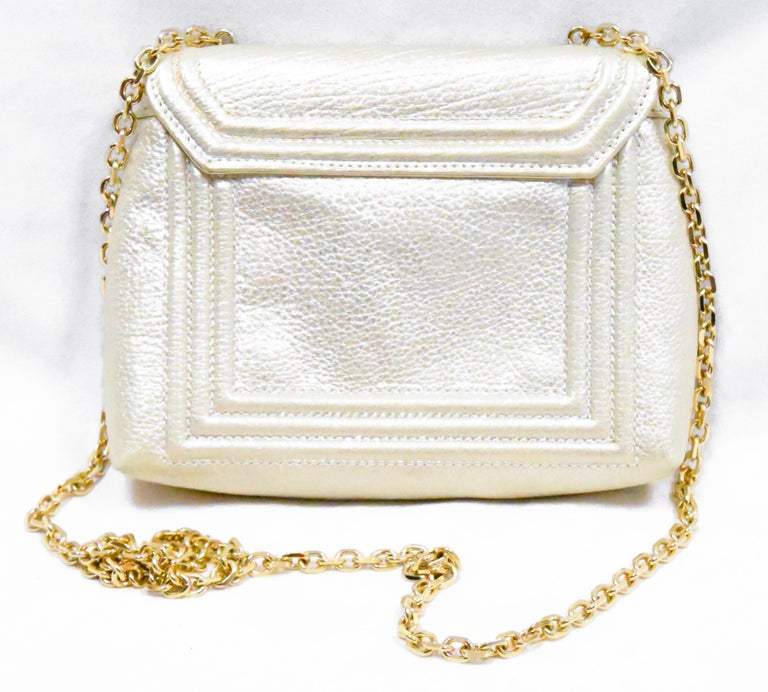 Judith Leiber Gold Tone Leather Shoulder Flap Bag Stone & Crystal Closure  In Excellent Condition For Sale In Palm Beach, FL