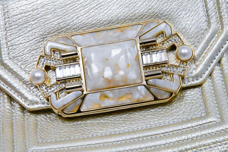 Judith Leiber Gold Tone Leather Shoulder Flap Bag Stone & Crystal Closure  For Sale 1