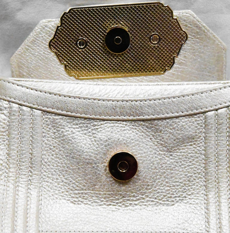 Judith Leiber Gold Tone Leather Shoulder Flap Bag Stone & Crystal Closure  For Sale 2