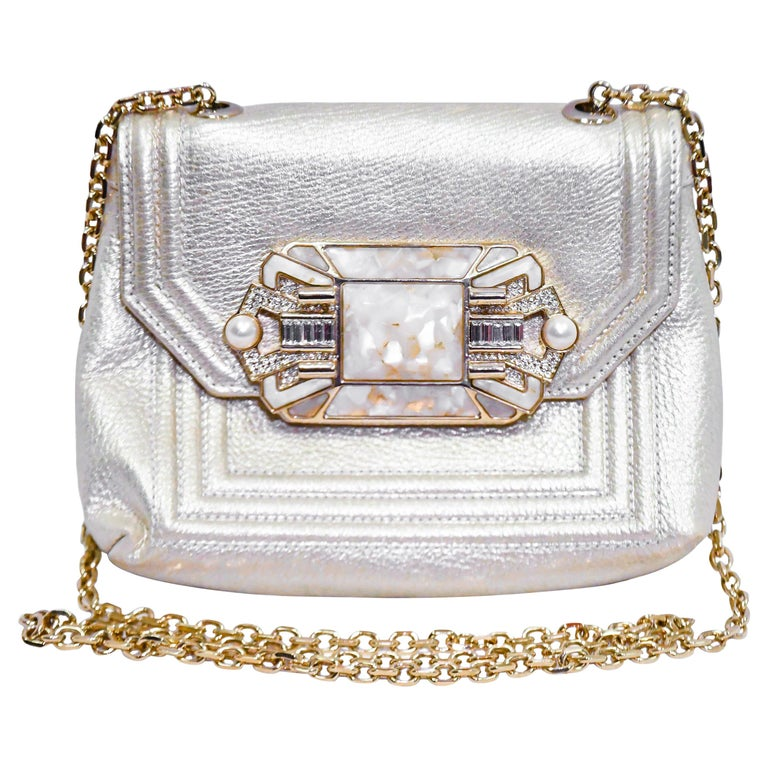 Judith Leiber Gold Tone Leather Shoulder Flap Bag Stone & Crystal Closure  For Sale
