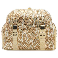 Judith Leiber Gold-Tone Suitcase Crystal Clutch
