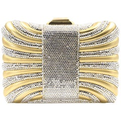 Judith Leiber Gold with White Crystal Box Minaudière Evening Clutch