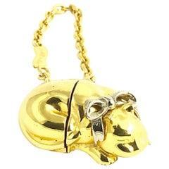 Judith Leiber Goldtone Cat Keychain