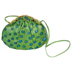 Judith Leiber Green and Blue Reptile Leather Clutch Bag, 1986