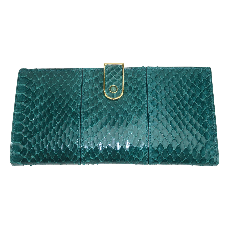 Judith Leiber Green Snakeskin Wallet