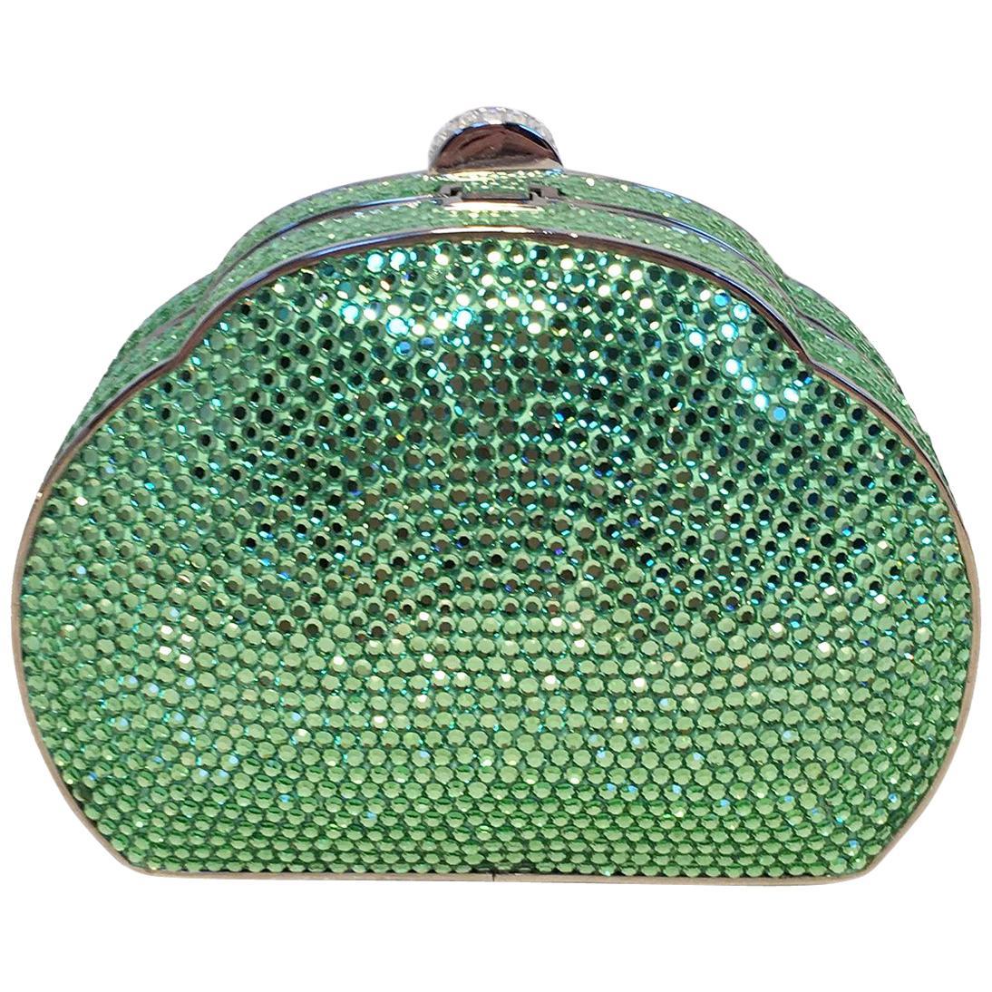 Judith Leiber Green Swarovski Crystal Minaudiere Evening Bag