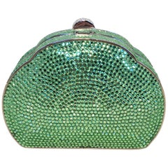 57eec65daab817 Judith Leiber Green Swarovski Crystal Minaudiere Evening Bag