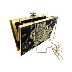 Judith Leiber Hand Bag Whit Gold Frame and Gold Flower on Black