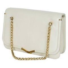 Judith Leiber Ivory Lizard Compartment Purse with Gold Chain Handles, 1980s