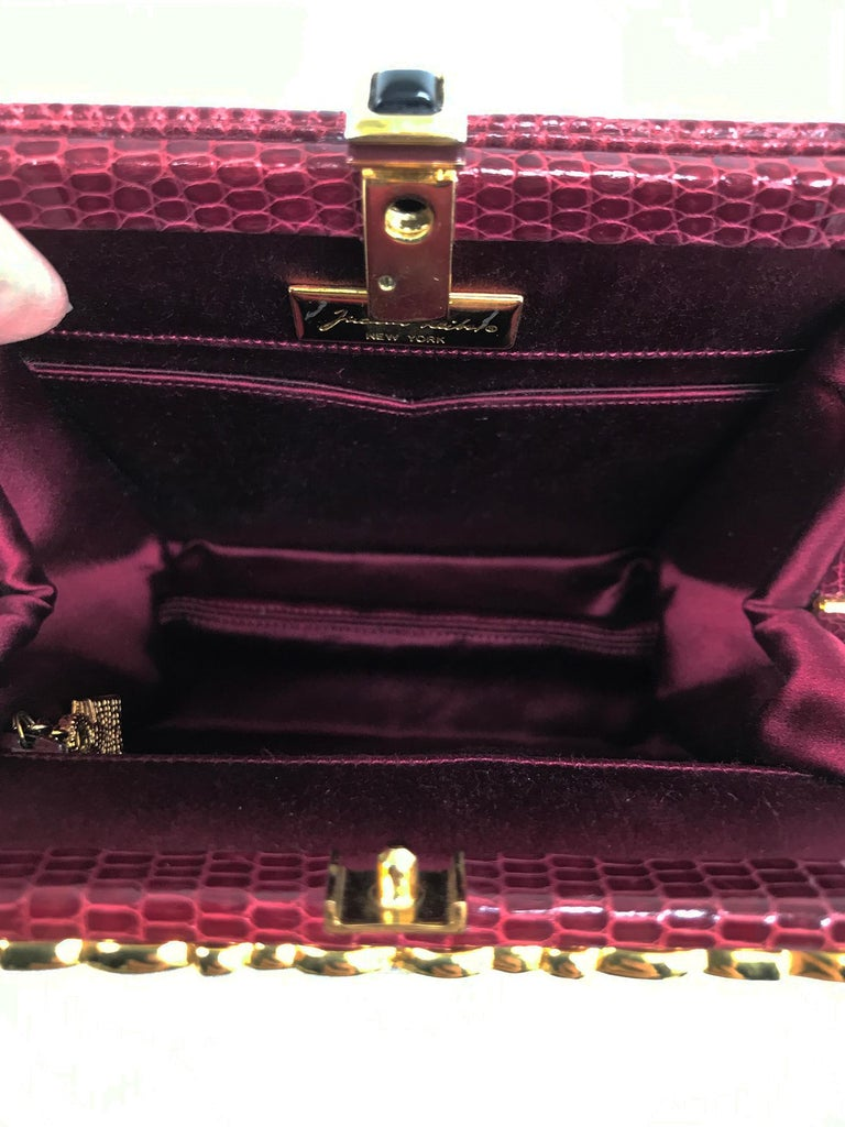 Judith Leiber Jewel Clasp Burgundy Lizard Clutch Shoulder Bag with Accessories For Sale 5