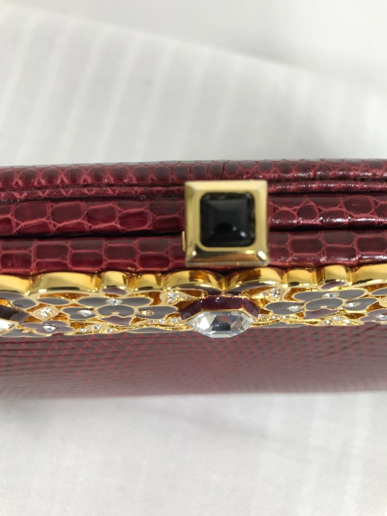 Judith Leiber Jewel Clasp Burgundy Lizard Clutch Shoulder Bag with Accessories For Sale 6