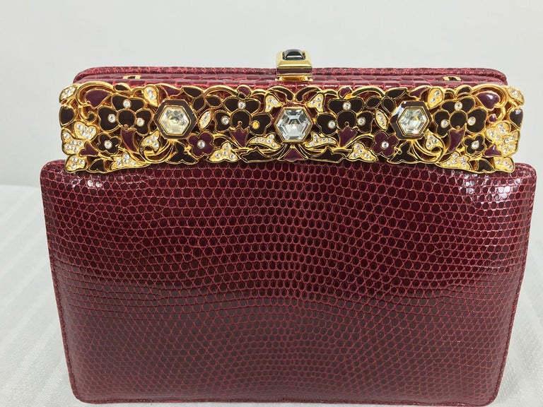 Judith Leiber Jewel Clasp Burgundy Lizard Clutch Shoulder Bag with Accessories For Sale 7