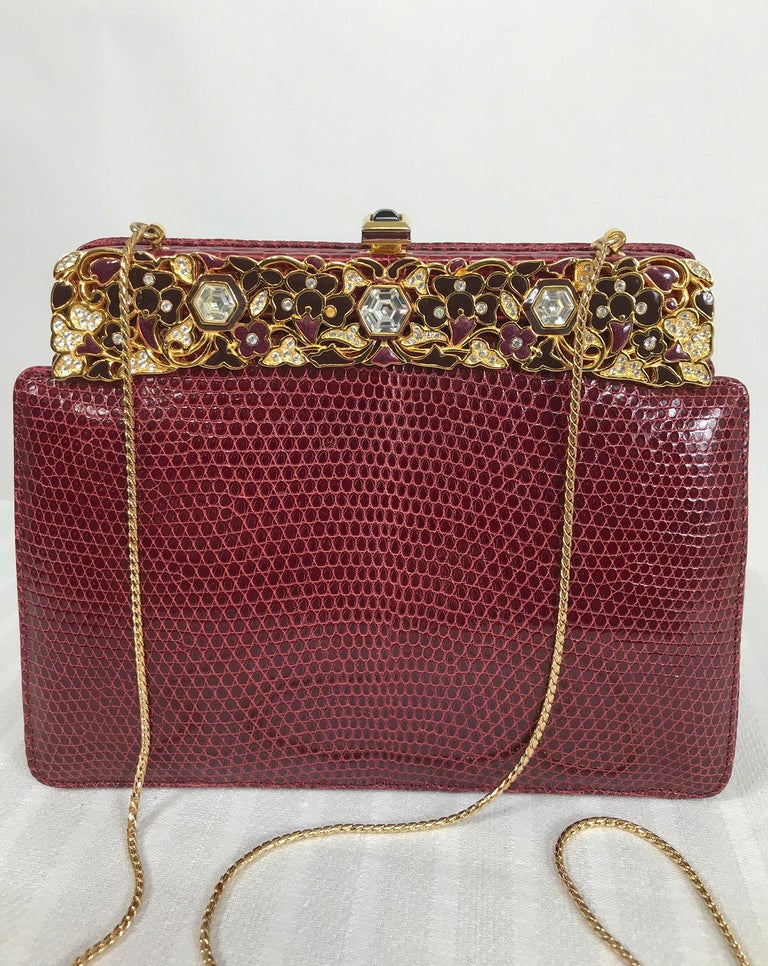 Judith Leiber Jewel Clasp Burgundy Lizard Clutch Shoulder Bag with Accessories For Sale 8