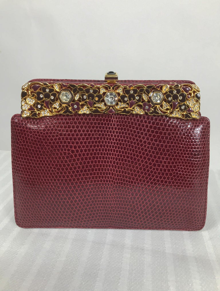 Brown Judith Leiber Jewel Clasp Burgundy Lizard Clutch Shoulder Bag with Accessories For Sale