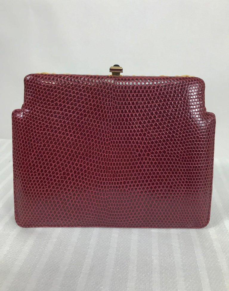 Women's Judith Leiber Jewel Clasp Burgundy Lizard Clutch Shoulder Bag with Accessories For Sale