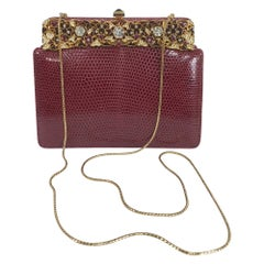 Judith Leiber Jewel Clasp Burgundy Lizard Clutch Shoulder Bag with Accessories