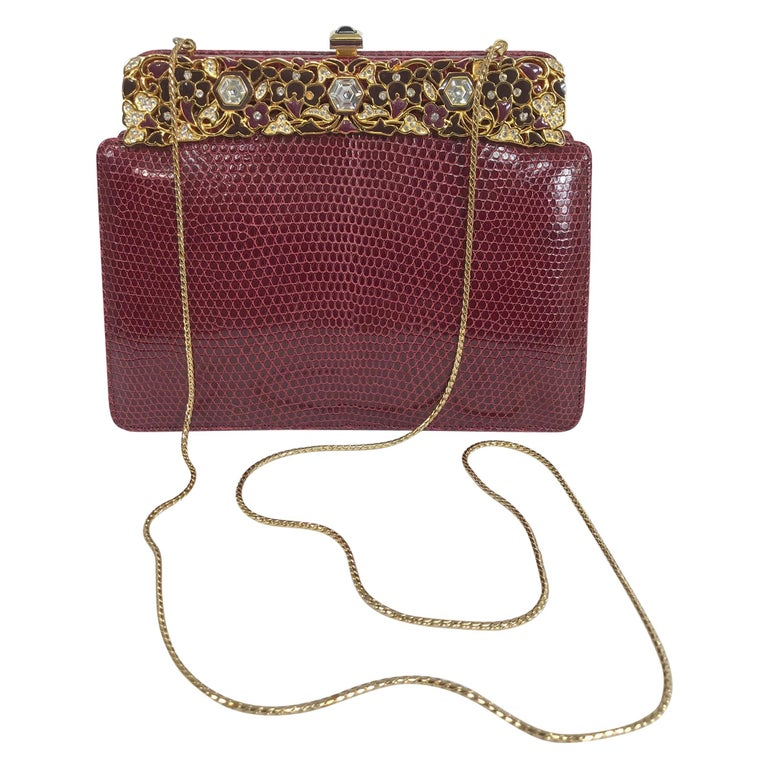 Judith Leiber Jewel Clasp Burgundy Lizard Clutch Shoulder Bag with Accessories For Sale
