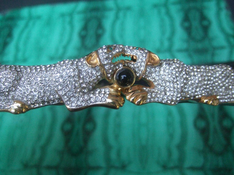 Judith Leiber Jewel Encrusted Black Leather Panther Belt c 1980s In Good Condition For Sale In Santa Barbara, CA