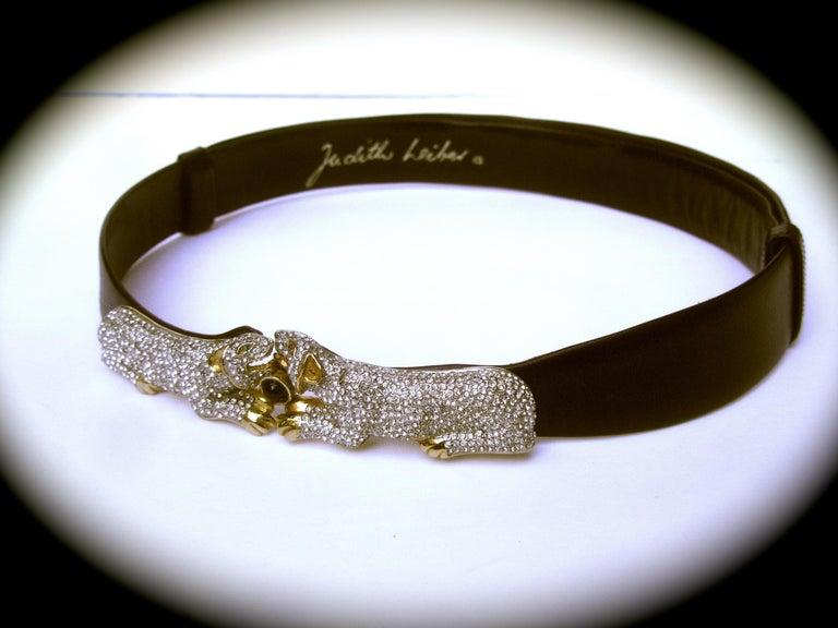 Judith Leiber Jewel Encrusted Black Leather Panther Belt c 1980s For Sale 5