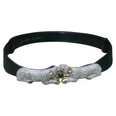 Judith Leiber Jewel Encrusted Black Leather Panther Belt c 1980s