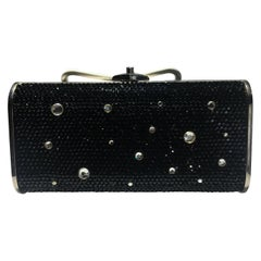 Judith Leiber Jeweled Clutch, Black And Clear Crrystals With Silver Strap.