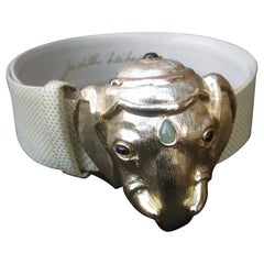 Judith Leiber Jeweled Gilt Metal Elephant Buckle Belt c 1980s