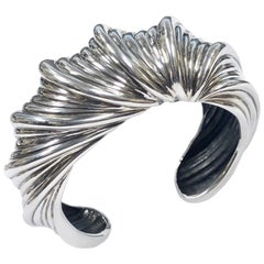 Judith Leiber Large Silver Cuff Bracelet