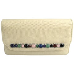 Judith Leiber Lizard Leather Evening Bag Handbag Clutch - Semi - Precious Stones