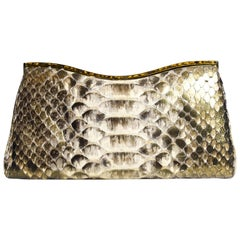 Judith Leiber Metallic Gold Tone Python Leather Clutch