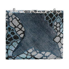 Judith Leiber Multicolor Swarovski Crystal and Textured Minaudiere Box Clutch