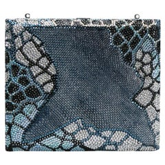 Judith Leiber Multicolor Swarovski Crystal Leather Minaudiere Box Clutch