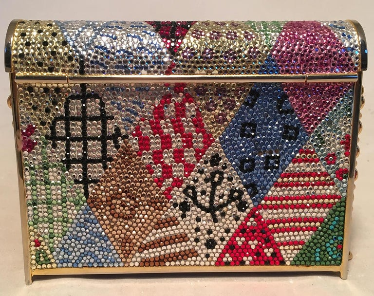 Judith Leiber Multicolor Swarovski Crystal Top Flap Box Minaudiere Evening Bag In Excellent Condition For Sale In Philadelphia, PA