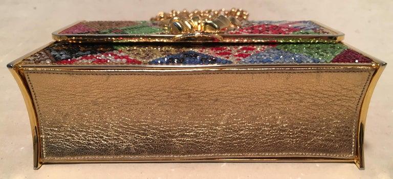 Women's Judith Leiber Multicolor Swarovski Crystal Top Flap Box Minaudiere Evening Bag For Sale