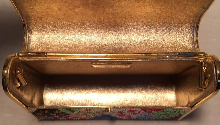 Judith Leiber Multicolor Swarovski Crystal Top Flap Box Minaudiere Evening Bag For Sale 1