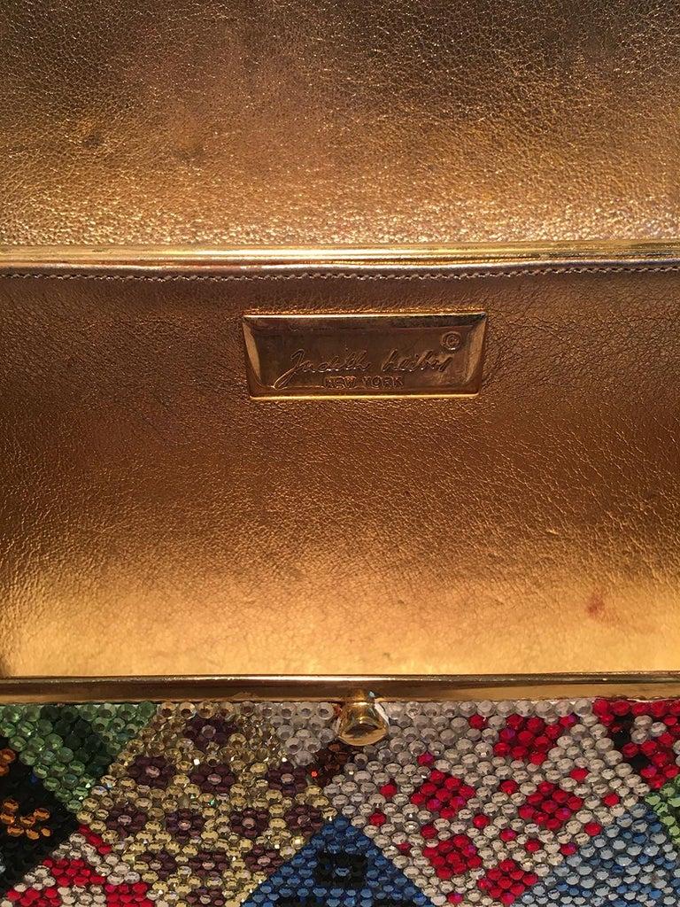Judith Leiber Multicolor Swarovski Crystal Top Flap Box Minaudiere Evening Bag For Sale 2