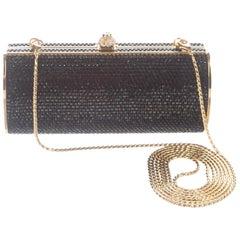 Judith Leiber NEW Black Gold Crystal Evening Box Clutch Shoulder Bag in Box