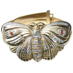 Judith Leiber Opulent Jeweled Large Scale Gilt Metal Butterfly Belt c 1980s