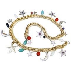 Judith Leiber Ornate Moons & Stars Celestial Glass Beaded Charm Belt c 1980s