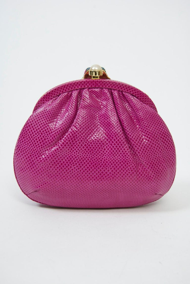 Judith Leiber Pink Parrot Clutch In Excellent Condition For Sale In Alford, MA