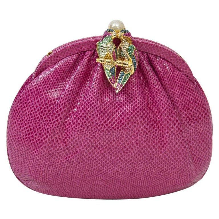 Judith Leiber Pink Parrot Clutch For Sale