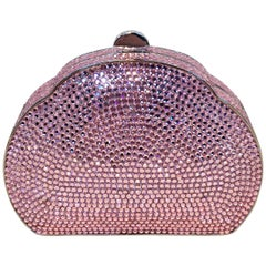 Judith Leiber Pink Swarovski Crystal Minaudiere Evening Bag