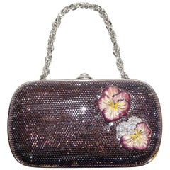 Judith Leiber Purple Crystal Minaudiere Enhanced W/ Two Enamel Pansy Flowers