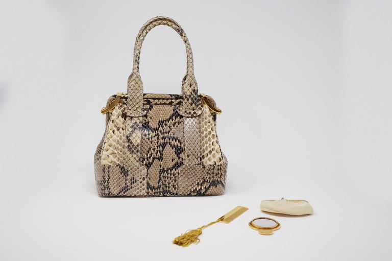 Judith Leiber Python Structured Frame Bag with Trio of Accessories For Sale 6